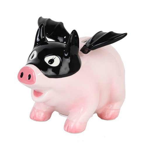 6.50 Inch Ceramic Bat Pig Savings Piggy/Coin/Money Bank, Pink