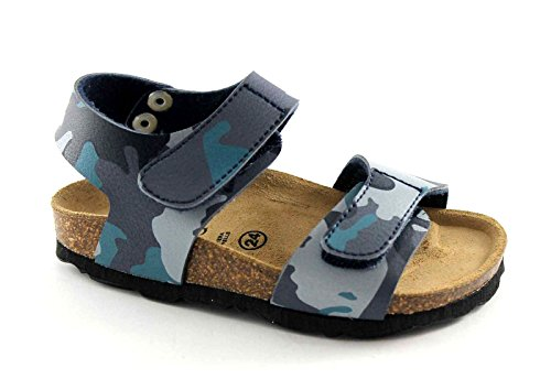 GRUNLAND LUCE SB0181 24/30 blu militare sandali bambino strappi birk 29