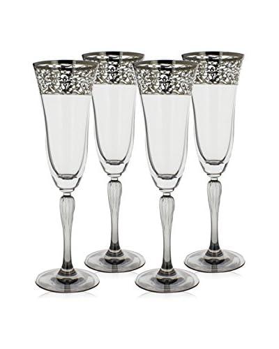A Casa K Set of 4 Crystal & Platinum 5.5-Oz. Champaign Flutes, Platinum