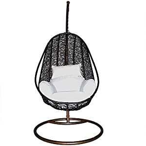 com comfortable egg shaped rattan outdoor euro swing chair black
