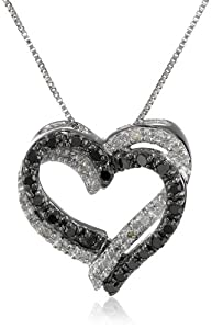 10k White Gold Double Heart Black and White Diamond Pendant Necklace (.2 cttw, I-J Color, I2-I3 Clarity), 18