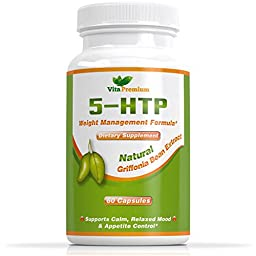 5-HTP Capsules • 100% MONEY BACK GUARANTEE • 5HTP 100mg Helps to Increase Serotonin levels - Promotes Healthy Sleep, Mood and Relaxation - Made in USA - Feel Better or Your Money Back
