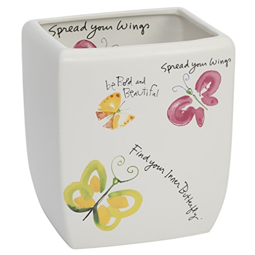 Kathy Davis Flutterby Wastebasket, Ceramic (Butterfly Open Garbage Can compare prices)
