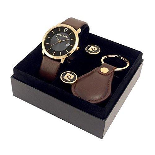 pierre-cardin-pcx0511g04-mens-brown-strap-watch-cufflinks-key-fob-set