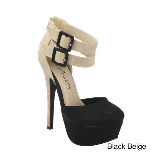 Elegant Women'S Stiletto Zipper High Heel Pump Double Buckle Ankle Strap Shoes