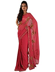 Dark Pink Party Wear Saree Stone Sequins Work Designer Georgette Sari