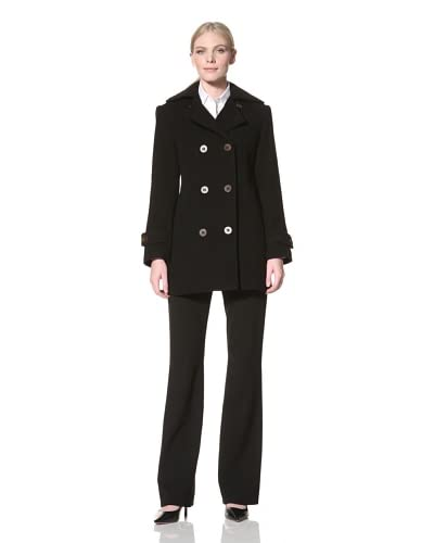 Jones New York Women's Peacoat with Quilted Detail  - Black