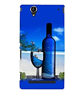 printtech Beach Drink Bottle Wine Back Case Cover for Sony Xperia T2 Ultra::Sony Xperia T2 Ultra Dual