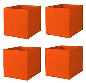 Ikea drona storage bins 4 pack orange fits for Fabric drawers ikea expedit