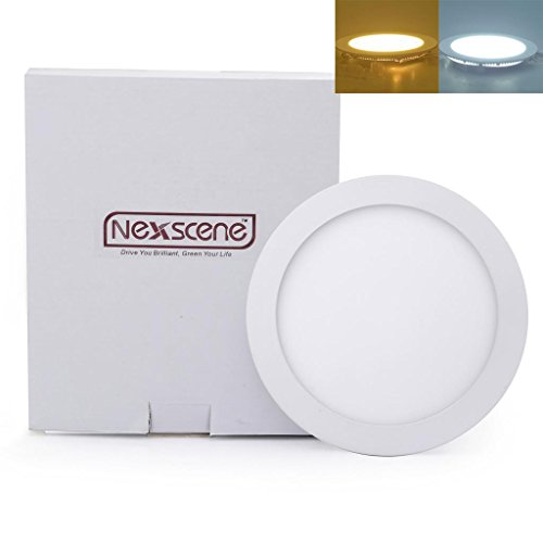Nexscene Dimmable 12W 7 Inch Ultra Thin Anti-Fogging Round Ceiling Panel Led Recessed Lighting Trim Downlight (Warm White)