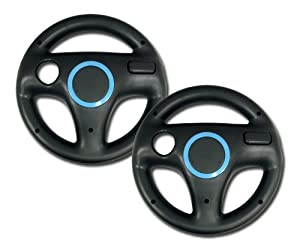 EastVita? Nintendo Wii Wheel for Mario Kart (Black) x 2 Bundle