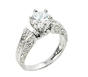 925 Sterling Silver Textured Band Six-Prong Solitaire CZ Engagement Ring (Size 8.5)