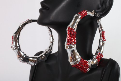 Red and Silver Shamballah 2.5 Inch Bamboo Hoop Earrings Iced Out Basketball Mob Wives Lady Gaga Poparazzi