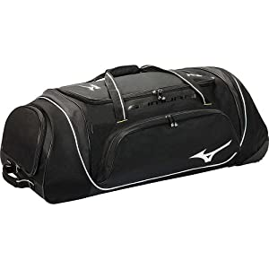 Mizuno Samurai Wheeled Catcher's  Bag, 35 x 14 x 12-Inch, Black