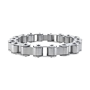 Inox Jewelry Polished and Matte Silver Steel Biker Chain Bracelet For Men available at Amazon for Rs.2875