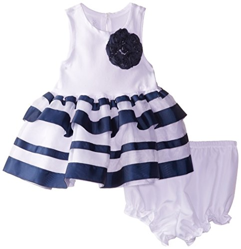 Marmellata Baby Girls' Knit and Striped Dress, White, 24 Months