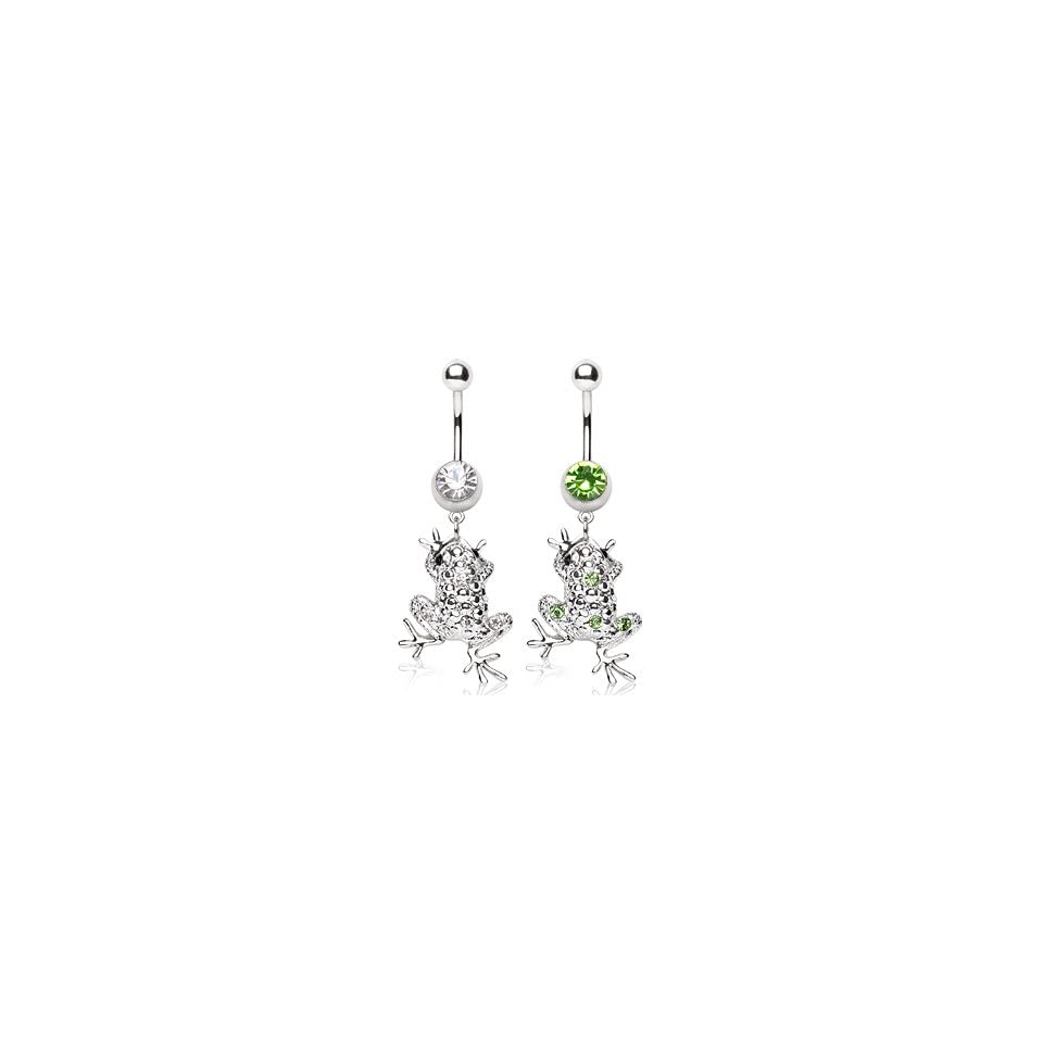316L Surgical Stainless Steel Belly Button Ring Barbell with Tree Frog Dangle with Green CZs   14G (1.6mm)   3/8 (10mm) Bar Length   Sold Individually