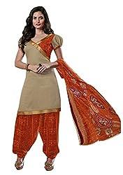 Beige Color Cotton Patiala Salwar Suit Unstitched Dress Materials