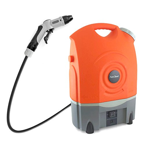Pure Clean Outdoor Portable Spray Pressure Washer Cleaner System Built in Rechargeable Batteries -Easy carrying wheels - Vehicle Car Plug Included (Bike Pressure Washer compare prices)