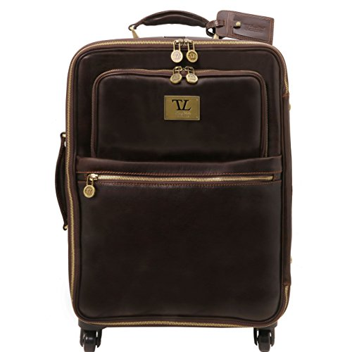 Tuscany Leather TL Voyager - 4 Wheels vertical leather trolley Dark Brown