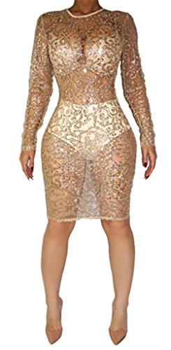 Womens Sexy Long Sleeve See Through Sequins Bodycon Party Club Split Dress (XXL, khaki)