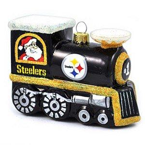 NFL Pittsburgh Steelers Blown Glass Train Ornament