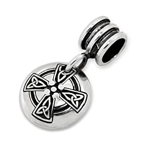 Celtic Knot Celtic Cross Charm Bead Dangle 925 Sterling Silver Compatible with Pandora, Troll Beads, Biagi, Chamilia and All European Charm Bracelets