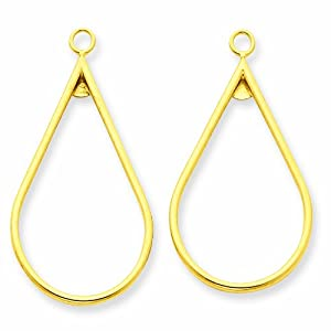 14K Polished Teardrop Earring Jackets