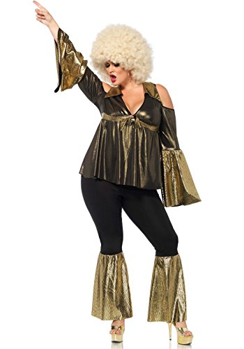 Leg Avenue Women's Plus Size Disco Diva Costume, Black/Gold, 3X-4X