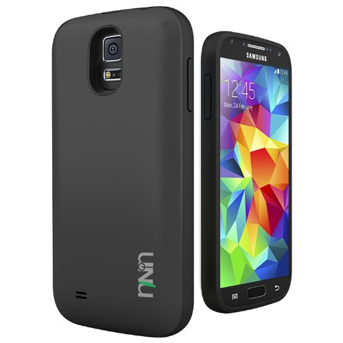 Unu Unity Samsung Galaxy S5 Battery Case - Rechargeable External Protective Battery Case [Black/Black] For Samsung Galaxy S5 Compatibles With All Models Samsung Galaxy S5 [A.K.A Extended Power Bank Battery Pack Charger Case Cable]