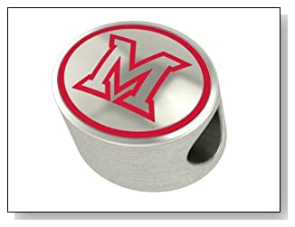 Miami of Ohio Collegiate Bead Charm Fits Most Pandora Style Bracelets Including Chamilia Personality Troll and More. High Quality Bead in Stock for Fast Shipping