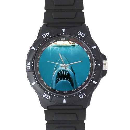 100% Plastic Quartz Watch Gifts Watch Cool Great White Shark Black Plastic High Quality Watch