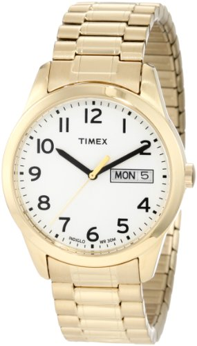 Timex Men's T2N064 Elevated Classics Dress Gold-Tone Expansion Band Watch