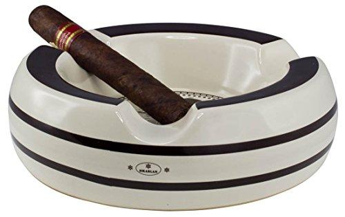 Visol Columbus White and Brown Three Lip Ceramic Patio Cigar Ashtray