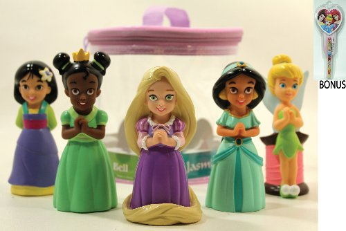Disney Parks Princess Pack Of 5 Princess Bath Toys (Mulan, Tiana, Jasmine, Rapunzel & Tinkerbell) - Disney Parks Exclusive & Limited Availability + Bonus Princess Notepad & Pen Included front-64944