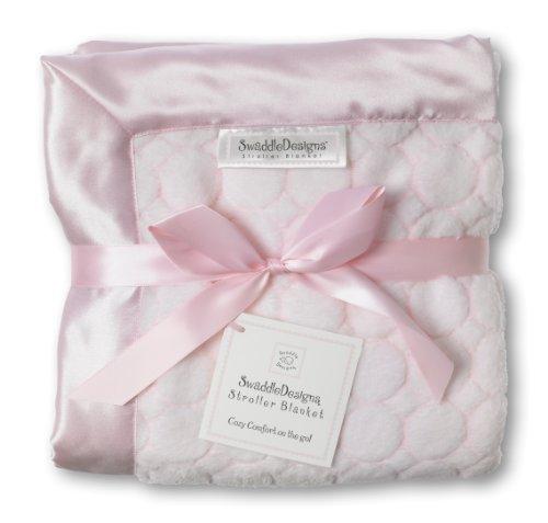 SwaddleDesigns Stroller Blanket, Pastel Puff Circles, Pastel Pink