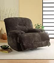Big Sale Homelegance 9723-1PW Upholstered Power Recliner Chair, Dark Brown, Textured Plush Microfiber