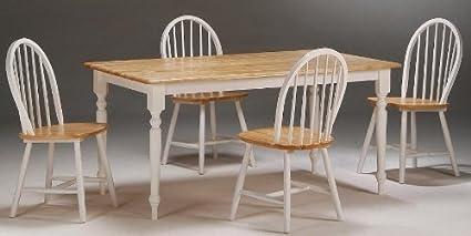 Boraam 80369 5-Piece Farmhouse Dining Room Set, White/Natural
