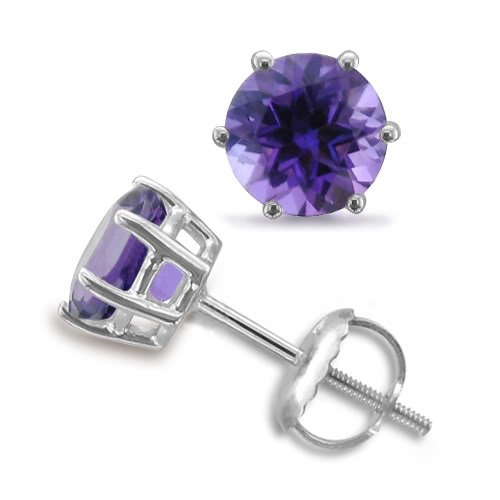 Amethyst Stud Earrings 6 Prong Studs in 18k White
