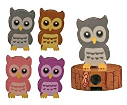 Wise Owl Eraser and Sharpener - Set of 4