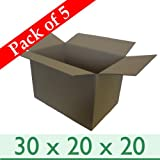 "5 x Large Strong Removal Cardboard Boxes - Double Wall - 30"" x 20"" x 20"" / 762mm x 508mm x 508mm"