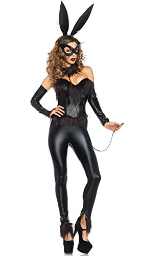 [NonEcho Women's 6 Piece Sexy Bunny Girl Parties Costume XL, Black] (Cat Costume Ideas Adults)