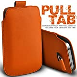Gadgets World Pull Tab Pu Leather Pouch Cover Case Only Fits Samsung E1200,E2121 - orange