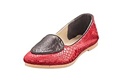 Marcello And Ferri Womens Red Leather Juttis - 4