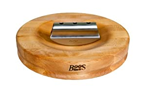 John Boos 13-Inch Round Mezzaluna Herb Board with Stainless Steel Rocker Knife