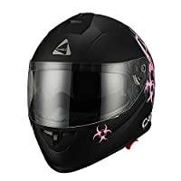 "Triangle ""Caution"" Matte Pink Dual Visor Full Face Motorcycle Helmet [DOT] (Medium) by Zhejiang Jixiang Motorcycle Fittings Co., LTD"