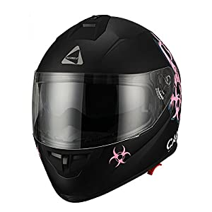 """Triangle """"Caution"""" Matte Pink Dual Visor Full Face Motorcycle Helmet [DOT] (Small) by Zhejiang Jixiang Motorcycle Fittings Co., LTD"""