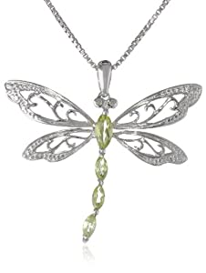 Sterling Silver Peridot and Diamond Dragonfly Pendant Necklace (0.01 cttw, I-J Color, I2-I3 Clarity), 18""
