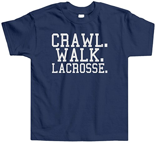 Threadrock Little Boys' Crawl Walk Lacrosse Toddler T-Shirt 3T Navy front-217246