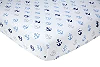 "Little Love by NoJo Separates Collection 6 Piece Anchors Printed Crib Sheet, Navy, 52"" x 28"""